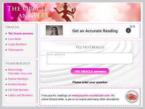 Webseite Screenshot www.the-oracle-answers.com
